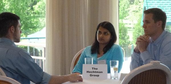 "Samiyah Siddiqui, a 2013 AISP alum, represented The Hechtman Group during the ""speed meeting"" sessions."